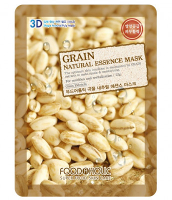Тканевая 3D маска с экстрактом зерновых культур FoodaHolic Grain Natural Essence Mask 23мл: фото