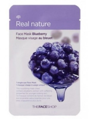 Маска с экстрактом черники THE FACE SHOP Real nature mask sheet blueberry 20 г.: фото