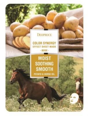 Маска с конским жиром и картофелем DEOPROCE Color synergy effect sheet mask beige 20г: фото