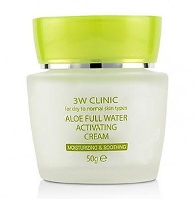 Крем для лица увлажняющий с алоэ вера 3W CLINIC Aloe Full Water Activating Cream 50г: фото