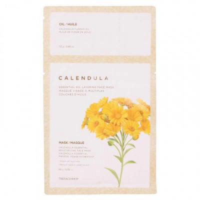 Маска для лица с экстрактом календулы The Face Shop Calendula Essential Oil Layering Face Mask: фото