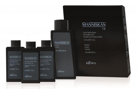 Набор Kaaral Manniskan: Краска для волос и бороды 50мл*3* + Активатор 150 мл 4/5 medium/light brown - средний/светло-коричневый: фото